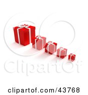 Clipart Illustration Of A Row Of Red Gift Boxes With The Biggest In The Back And Smallest In The Front