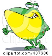 Royalty Free RF Clip Art Illustration Of A Big Frog Holding A Thumb Up by toonaday