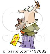 Royalty Free RF Clip Art Illustration Of A Businessman Holding His Teddy Bear At The Top Of A Hill