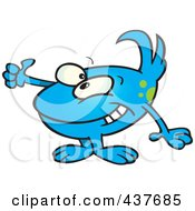 Royalty Free RF Clip Art Illustration Of A Blue Tidbit Holding A Thumb Up