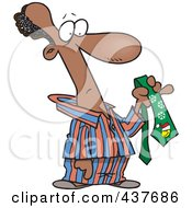 Royalty Free RF Clip Art Illustration Of A Cartoon Black Man In His Pajamas Holding A Christmas Tie