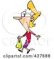 Royalty Free RF Clip Art Illustration Of A Thrifty Woman Carrying A Plastic Bag by toonaday