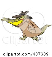 Royalty Free RF Clip Art Illustration Of A Thug Crocodile In A Hat And Coat by toonaday