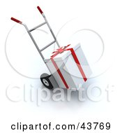 Clipart Illustration Of A White Christmas Present Loaded On A Dolly