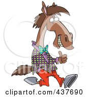 Royalty Free RF Clip Art Illustration Of A Cartoon Horse Walking Upright In Clothes And Holding A Thumb Up by toonaday