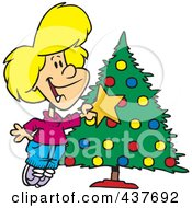 Royalty Free RF Clip Art Illustration Of A Caucasian Girl Decorating A Christmas Tree