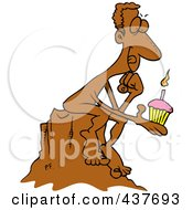 Royalty Free RF Clip Art Illustration Of A Birthday Statue Holding A Cupcake And Thinking Of A Wish