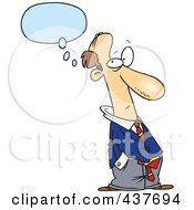 Royalty Free RF Clip Art Illustration Of A Cartoon Businessman Thinking With His Hands In His Pockets by toonaday