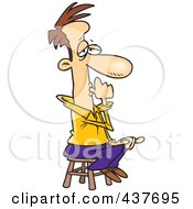 Royalty Free RF Clip Art Illustration Of A Cartoon Businessman Sitting On A Stool And Sucking His Thumb