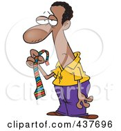 Royalty Free RF Clip Art Illustration Of A Black Cartoon Businessman Holding A Striped Tie