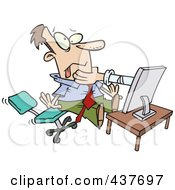 Royalty Free RF Clip Art Illustration Of A Hand Strangling A Businessman From A Computer Screen