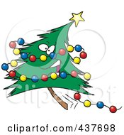 Royalty Free RF Clip Art Illustration Of A Happy Christmas Tree With Colorful Baubles