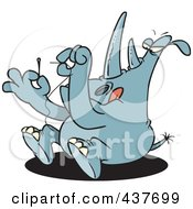 Royalty Free RF Clip Art Illustration Of A Blue Rhino Threading A Needle by toonaday