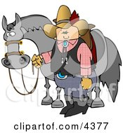Cowboy Standing Beside His Saddled Horse While Holding The Reins Clipart