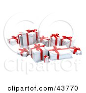 Clipart Illustration Of A Group Of Various Sized Gift Boxes Wrapped In White