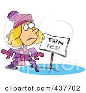 Royalty Free RF Clip Art Illustration Of A Cartoon Girl Walking On Thin Ice