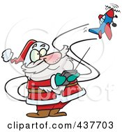 Royalty Free RF Clip Art Illustration Of Santa Flying A Remote Control Plane by Ron Leishman