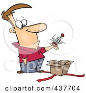 Royalty Free RF Clip Art Illustration Of A Man Lifting An Odd Thing Out Of A Gift Box