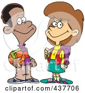 Royalty Free RF Clip Art Illustration Of A Friendly Black Cartoon Teen Boy Talking To A School Girl