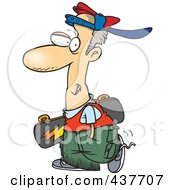 Royalty Free RF Clip Art Illustration Of A Cartoon Teen Skater Boy Carrying A Skateboard