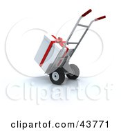Clipart Illustration Of A White Christmas Present Loaded On A Hand Truck