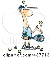 Royalty Free RF Clip Art Illustration Of A Cartoon Male Tennis Player Being Hit In The Face With Ball After Ball