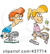 Royalty Free RF Clip Art Illustration Of A Love Struck Boy Following Around A Female Tennis Player by toonaday