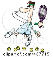 Royalty Free RF Clip Art Illustration Of A Cartoon Male Tennis Player Trying To Hit Balls
