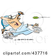Royalty Free RF Clip Art Illustration Of A Cartoon Male Tennis Player Running From The Ball