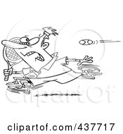 Royalty Free RF Clip Art Illustration Of A Black And White Outline Design Of A Male Tennis Player Running From The Ball