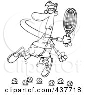 Royalty Free RF Clip Art Illustration Of A Black And White Outline Design Of A Male Tennis Player Trying To Hit Balls