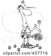 Royalty Free RF Clip Art Illustration Of A Black And White Outline Design Of A Male Tennis Player Being Hit In The Face With Ball After Ball