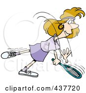 Royalty Free RF Clip Art Illustration Of A Cartoon Woman Swinging Her Tennis Racket by toonaday
