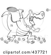 Royalty Free RF Clip Art Illustration Of A Black And White Outline Design Of An Alligator Playing Tennis