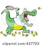 Royalty Free RF Clip Art Illustration Of A Cartoon Alligator Playing Tennis by toonaday