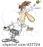 Royalty Free RF Clip Art Illustration Of A Cartoon Male Tennis Player Being Smacked On The Forehead With A Ball
