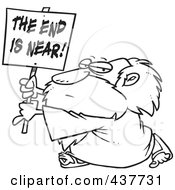 Royalty Free RF Clip Art Illustration Of A Black And White Outline Design Of A Man Holding A The End Is Near Sign