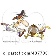 Royalty Free RF Clip Art Illustration Of A Cartoon Pilgrim Chasing A Turkey Bird by toonaday