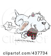 Royalty Free RF Clip Art Illustration Of A Cartoon Terrier Dog Stealing Slippers by toonaday
