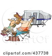 Royalty Free RF Clip Art Illustration Of A Cartoon Couple Relaxing At A Campsite Near Their Tent Trailer