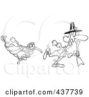 Royalty Free RF Clip Art Illustration Of A Black And White Outline Design Of A Mad Turkey Bird Chasing A Pilgrim