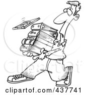 Royalty Free RF Clip Art Illustration Of A Black And White Outline Design Of A Male Student Carrying Text Books
