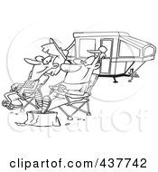 Royalty Free RF Clip Art Illustration Of A Black And White Outline Design Of A Couple Relaxing At A Campsite Near Their Tent Trailer by toonaday