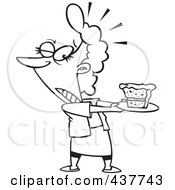 Royalty Free RF Clip Art Illustration Of A Black And White Outline Design Of A Tempted Woman Holding A Slice Of Cake On A Plate
