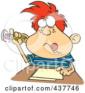 Royalty Free RF Clip Art Illustration Of A Cartoon Boy Sticking His Pencil In His Ear While Taking A Test