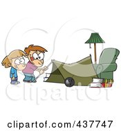 Royalty Free RF Clip Art Illustration Of Cartoon Kids Setting Up A Camping Tent In A Living Room