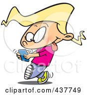 Royalty Free RF Clip Art Illustration Of A Cartoon Little Girl Walking And Texting On A Cell Phone by toonaday