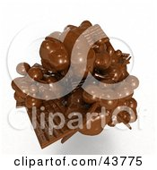 Clipart Illustration Of A Mess Of 3d Melting Chocolate Candy Bars by Frank Boston