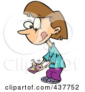 Royalty Free RF Clip Art Illustration Of A Little Cartoon Girl Texting On A Cell Phone by toonaday