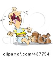 Royalty Free RF Clip Art Illustration Of A Teething Baby Throwing A Tantrum